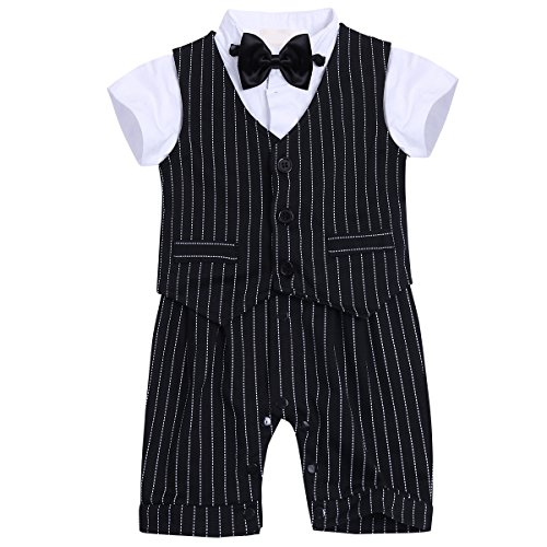 Freebily Baby Boys Gentleman Outfit Short Sleeve Bowtie Striped Rompers With Vest