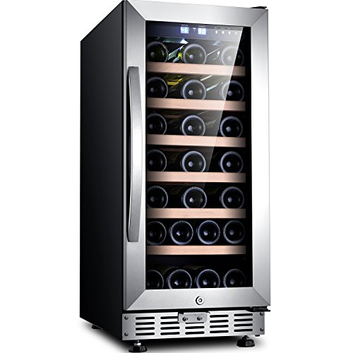 "Sinoartizan ST-33S 15"" Wide 33 Bottle Single Zone Red, White, Champagne Wine Cooler/Built-in or Freestanding Wine Refrigerator with Energy Efficient & Quiet Compressor (Red Bottle Single)"