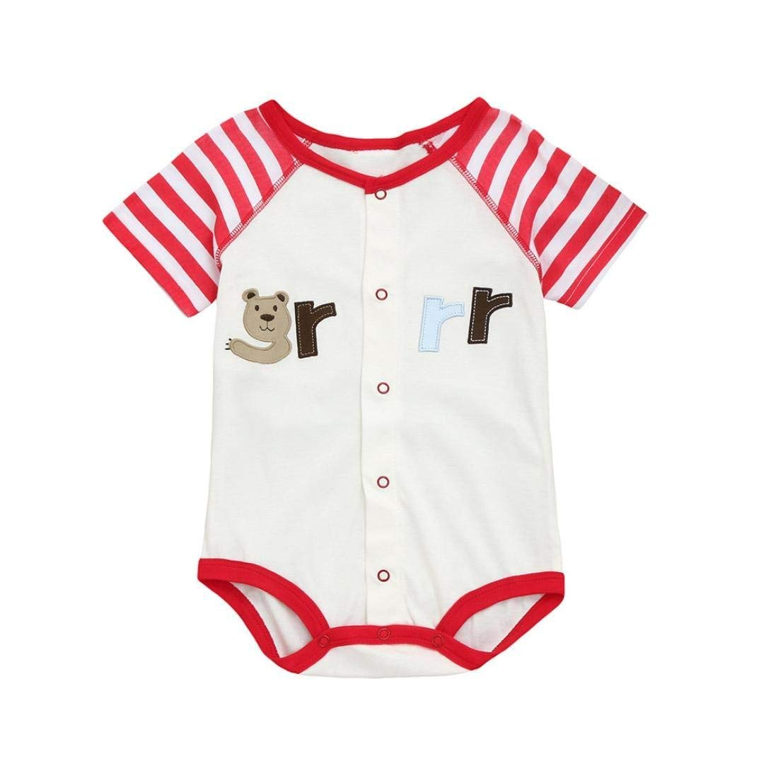 Sleepsuits Newborn Baby Boy Girl Romper Short Sleeve Cartoon Animals Print Home Pajama Jumpsuit for 0-12 Months for You (Size : 12-18 Months|Red)