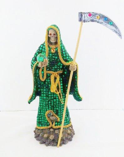 (14 Inch Statue of La Santa Muerte Verde Holy Death Grim Reaper Green Imagen)