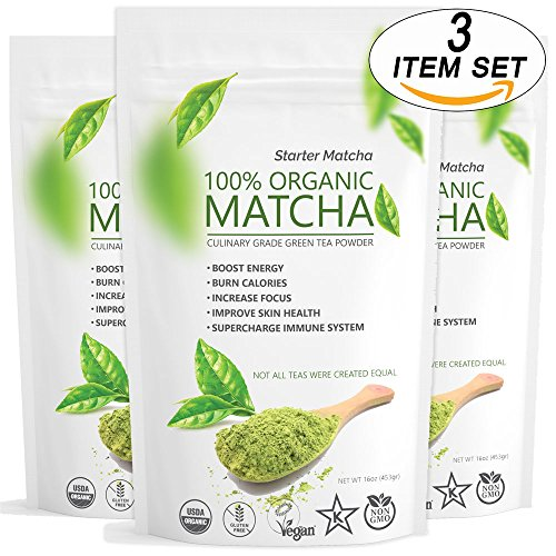 Starter Matcha (3x16oz) - Premium USDA Certified Organic, Pure Matcha Green Tea Powder, Incredible Flavor, Delicate Aroma, Natural Energy Booster and Fat Burner