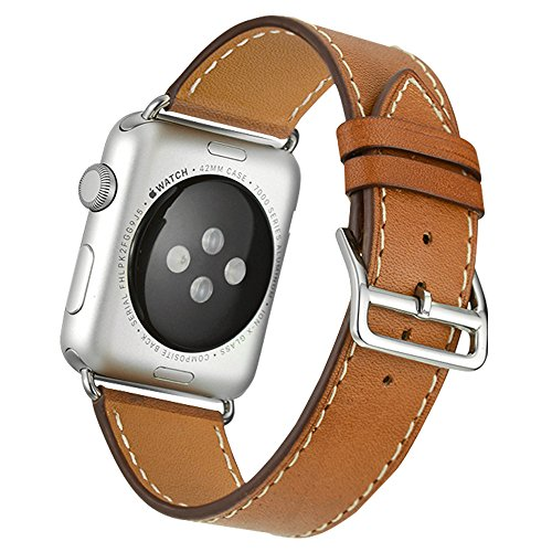 Photo - Apple Watch Band,Valkit(TM) Luxury Genuine Leather Watch Band Strap Bracelet Replacement Wrist Band With Adapter Clasp for iWahtch Apple Watch 42mm& Sport & Edition--Single tour - (Brown)