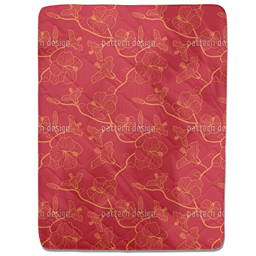 Hibiscusdream In Red Fitted Sheet: King Luxury Microfiber, Soft, Breathable by uneekee