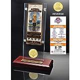 NCAA Clemson Tigers Highland 2016 Football National Champions Ticket & Coin Acrylic Desk Top, Bronze
