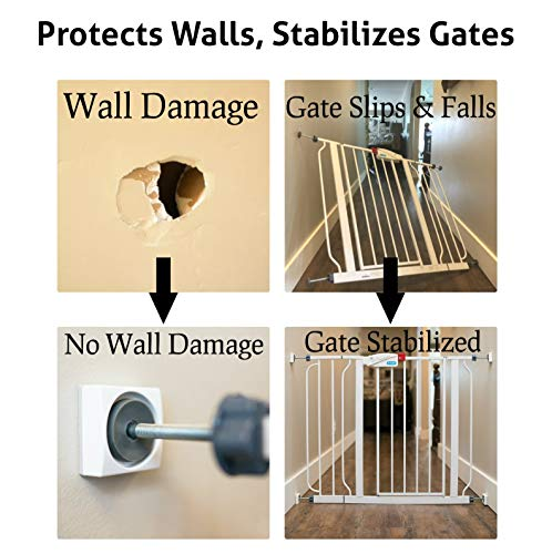 Made in USA No Safety Hazard on Bottom Spindles Wall Nanny for Child Pressure Mounted Stair Safety Gate Protect Walls /& Doorways from Pet /& Dog Gates Saver Baby Gate Wall Protector 4 Pack