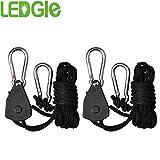 LEDGLE 1 Pair 1/8'' Grow Light Ratchet Rope Hanger Adjustable Heavy Duty for Grow Light Fixture Lighting Equipment Rope Hangers