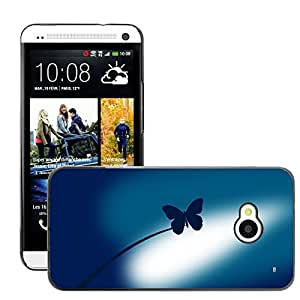 Super Stellar Slim PC Hard Case Cover Skin Armor Shell Protection // M00050977 butterfly vector art aero blue // HTC ONE M7