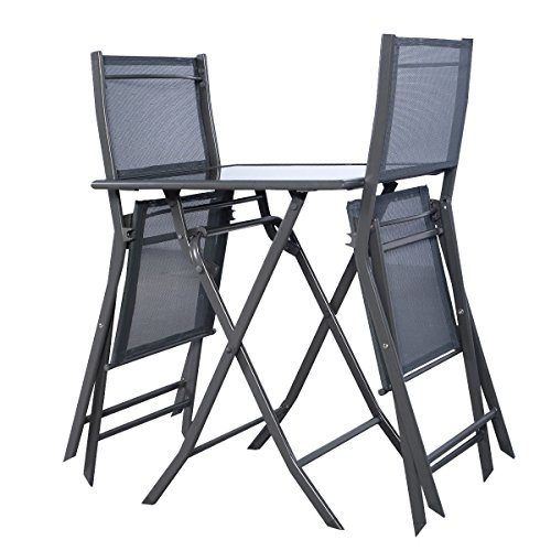 3PCS Gray Steel Folding Bistro Set Garden Backyard Table Chairs Patio Furniture NEW (Patio Mid Wrought Furniture Century Iron)