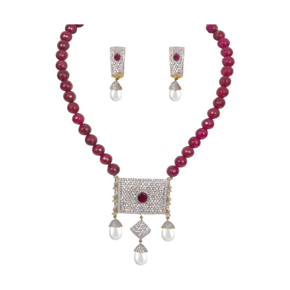 YouBella Jewellery Bollywood Ethnic American Diamond Traditional Indian Necklace Set with Earrings B075HHD82L_US