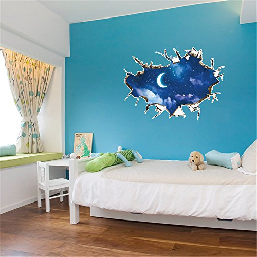 WOCACHI Wall Stickers Decals 3D Star Series Floor Wall Sticker Removable Mural Decals Vinyl Art Room Decor Art Mural Wallpaper Peel & Stick Removable Room Decoration Nursery -