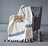 Knitted blanket white, Chunky knit throw, Knitted throw, Wool blanket, Stripes blue, Wool blended throw, Throw blanket, Wool acrylic blanket, White with dark blue, 43''x76''