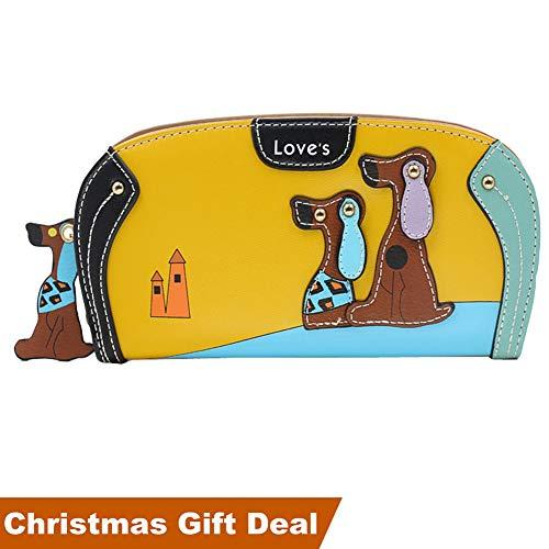 Women Clutch Wallet,Welegant Puppy & Dog Long Purse Organizer with Card Holder & Zipper Continental (S1, - Wallet Dog Long