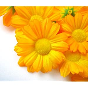 "(12) Silk Yellow Gerbera Daisy Flower Heads , Gerber Daisies - 1.75"" - Artificial Flowers Heads Fabric Floral Supplies Wholesale Lot for Wedding Flowers Accessories Make Bridal Hair Clips Headbands Dress 45"