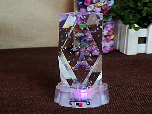 Lovers season 3D Neidiao crafts with LED lights crystal tower rose ornaments 4 times 10 big octagonal ()