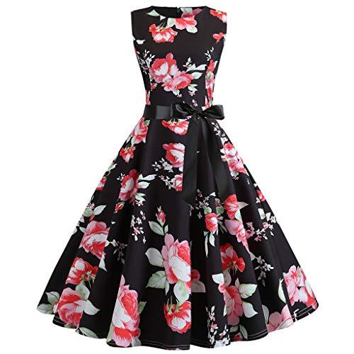 TIFENNY Summer Women Vintage Fashion Dresses 1950s Sleeveless O Neck Retro Print Evening Party Prom Swing -