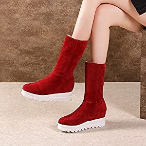 Shoes, New Classic Winter Keep Warm Slip-On Shoes,Women Suede Round Toe Wedges Shoes Plush Snow Boots,US:7 Red