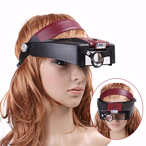 Glasses Machinist (CoCocina 10X Lighted Magnifying Glass Headset Head Magnifier Adjustable)