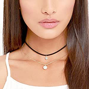 Bridalvenus Black Gothic Lace Velvet Choker Necklace, Double Layer Clavicle Choker with Rhinstones Pendant for Women and Girls