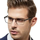 OCCI CHIARI Rectangle Full-Rim Metal Eyewear Frame Acetate Arm for Bussiness Men(Gun, 54)