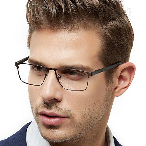 OCCI CHIARI Rectangle Full-Rim Metal Eyewear Frame Acetate Arm for Bussiness Men(Gun, (Men Eyewear)