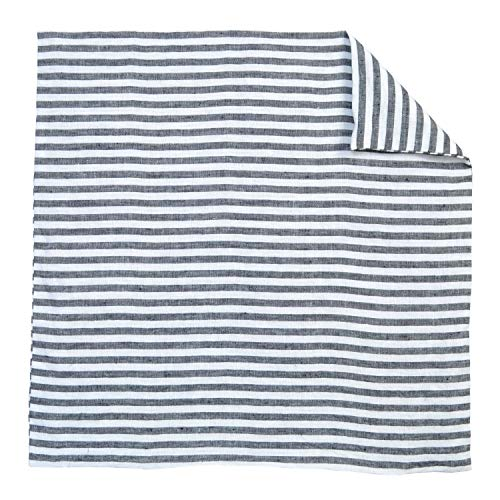Luxury French Farmhouse Linen Damask Black and White Striped Euro Shams 26x26 Square Pillow Cover Ticking Small Thin Pin Stripe Sofa Throw Accent Decorative Couch Reversible Covers Case