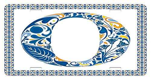 Ambesonne Letter O License Plate, Blue Capital Letter in Framework Portuguese Tile Art Azulejo Floral Design, High Gloss Aluminum Novelty Plate, 5.88