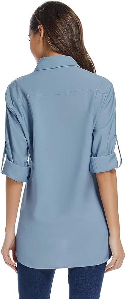 Asfixiado Womens Long Sleeve Sun Protection Shirts Quick Dry SPF T-Shirt Hiking Cooling Fishing Clothing