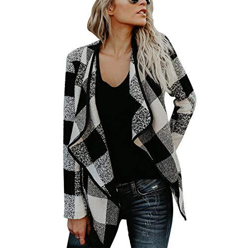 shijunli Casual Fashion Women's Jacket Checkered Lapel Tweed Coat