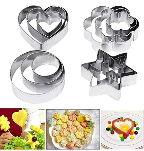 Amison Heart Star Circle Flower Shaped Mould Cookie Pastry Fruit Cutters 12 Pcs Metal Stainless ()