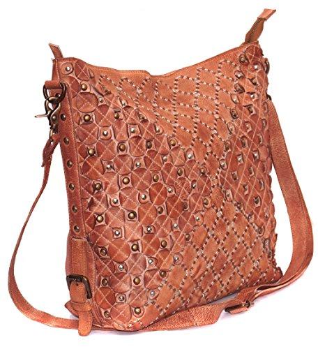 Diana Leather Tote - Vannamoda Diana Women Leather Handcrafted Hobo Bag (Tan)