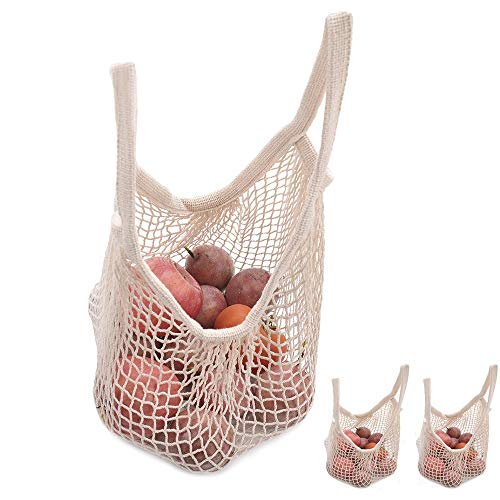 Bailuoni Net String Shopping Bag Handle Portable/Washable/Reusable Net Shopping Tote String Bag Organizer for Grocery Shopping, Beach, Toys, Storage, Fruit, Vegetable and Market 2 pack(Short handle)
