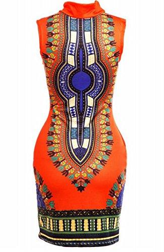 Domple Femmes Vingtage Africaine Imprimé Sans Manches Amincissent Robe Moulante Midi D'orange