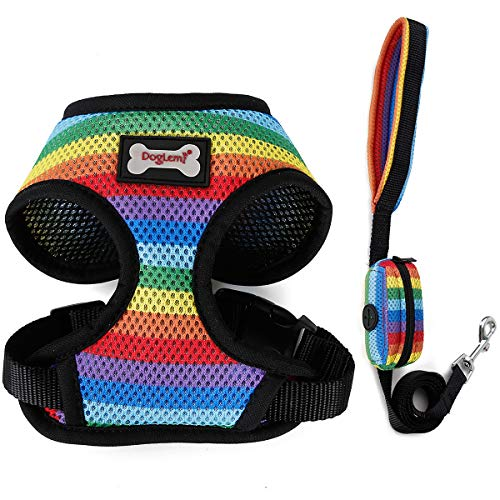 MINGPINHUIUS 3in1 Dog Harness Vest with Dog Leash & Dog Poop Bag, Comfortable Breathable Padded Rainbow Color Design Harnesses for Small Medium Dog Puppy (Small) -