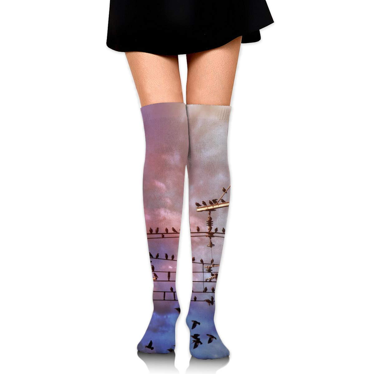 High Elasticity Girl Cotton Knee High Socks Uniform Cable Rod Birds Women Tube Socks