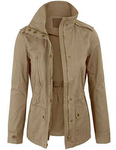 KOGMO Womens Military Anorak Safari Jacket with Elastic Waist Band-M-Khaki ()