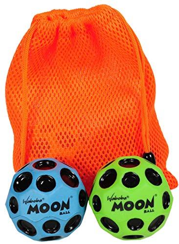 Waboba Moon Balls, Bundle of 2, 1 Blue & 1 Green, with Bonus Orange Mesh Drawstring Pouch || Bundled Items by Waboba (Image #3)