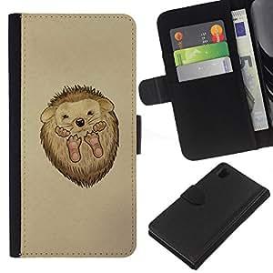 Planetar® Modelo colorido cuero carpeta tirón caso cubierta piel Holster Funda protección Para Sony Xperia Z1 / L39h / C6902 / C6903 ( Cute Hedgehog Baby )