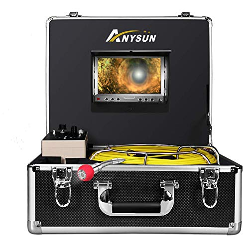Pipe Pipeline Inspection Camera,Anysun 50m-165FT Cable Drain Sewer Industrial Endoscope Waterproof IP68 with 7 Inch Lcd Monitor Dvr Record-8GB SD Card (Sewer Snake Camera)