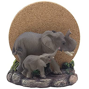 Decorative Elephants Drink Coaster Set with Holder Sculpture and Cork Beverage Coasters for African Jungle Safari Decor Art and Zoo Animal Figurines As Bar or Table Centerpiece Gifts That Bring Luck