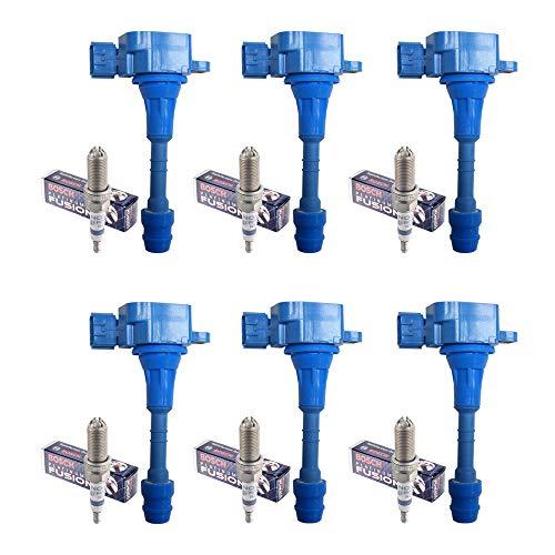 Set of 6 Bosch Platinum +2 Spark Plugs 4316 + 6 AD Auto Parts Ignition Coils For Infiniti & Nissan