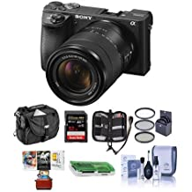 Sony Alpha A6500 Mirrorless Camera 18-135mm f/3.5-5.6 OSS Lens - Bundle 32GB SDHC U3 Card, Camera Case, 55mm Filter Kit, Cleaning KIt, Memory Wallet, Card Reader, Mac Software Package