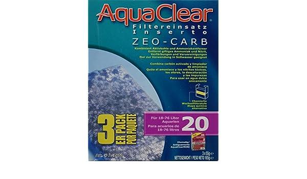 Amazon.com : Zeo-Carb Filter Insert for AquaClear 20/Mini - 3 pk : Pet Supplies