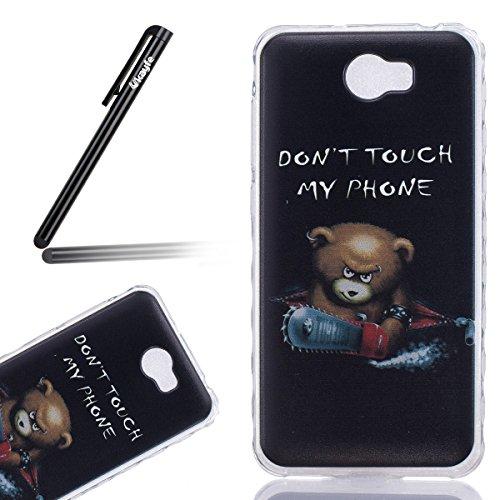Funda para Huawei Y5 II, Ukayfe Suave Carcasa Caso Parachoques Diseño pintado Patrón para Huawei Y5 II,Funda Case Lujo Premium Bling Caja PC Dura Ultra Fina Cubierta Matt Glitter Protectora Caja Shiny Cute Bear