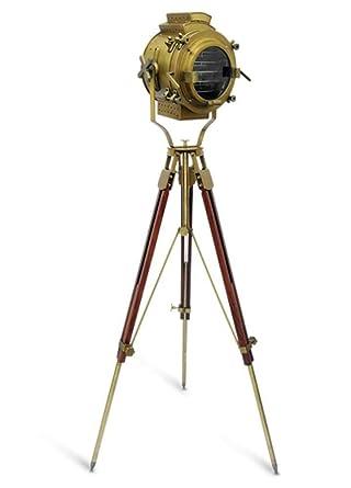 Nautical Antique Finish Brass Spotlight Searchlight Wooden Tripod ...