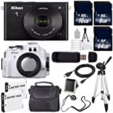 Nikon 1 J4 Mirrorless Digital Camera with 10-30mm Lens (Black) (International Model No Warranty) + Nikon WP-N3 Waterproof Housing + EN-EL22 Battery + 88GB Total Memory + 6AVE Bundle