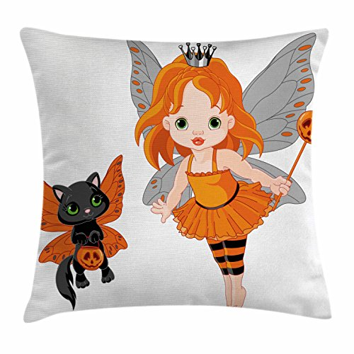 Ambesonne Halloween Throw Pillow Cushion Cover, Halloween Baby Fairy and Her Cat in Costumes Trick Butterflies Girls Kids Design, Decorative Square Accent Pillow Case, 16