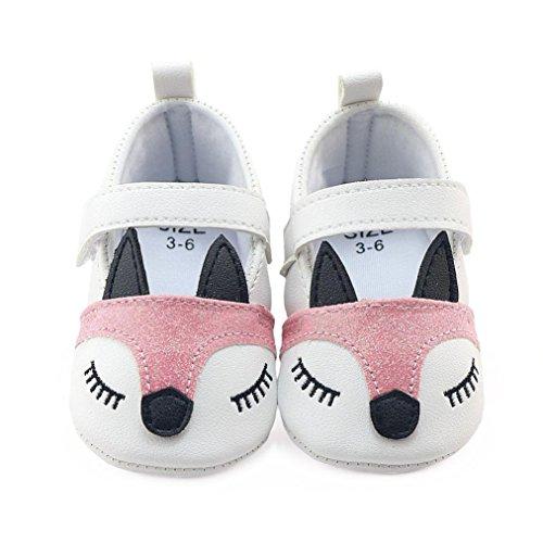Hunpta Neugeborene Säuglings Baby Mädchen Fox Muster Krippe schuhe Weiche alleinige Anti-Rutsch Turnschuhe Weiß