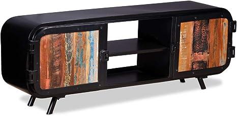 Vidaxl Tv Schrank Mit 2 Schrankfächern 2 Regalen Fernsehtisch Fernsehschrank Lowboard Tv Möbel Sideboard Hifi Schrank Recyceltes Massivholz 120x30x45cm Küche Haushalt