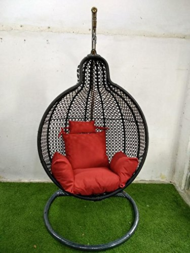 Wicker HUB GC403 Outdoor Swing with Stand Black/White Mix