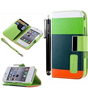 LETOiNG-4WT72E Wallet Leather Carrying Case Cover With Credit ID Card Slots/ Money Pockets For iPhone 4/4S-Green+Dark Green+Orange